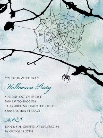 Spider Themed Halloween Party Invite