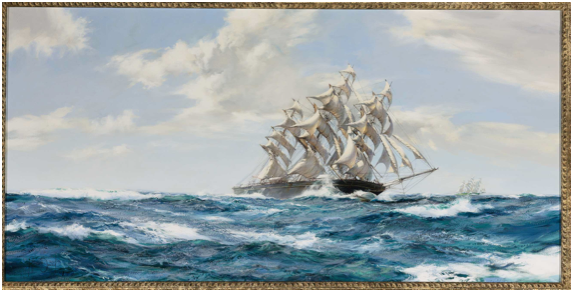 Tall Ship Sailing Oil Painting Simplified Bee
