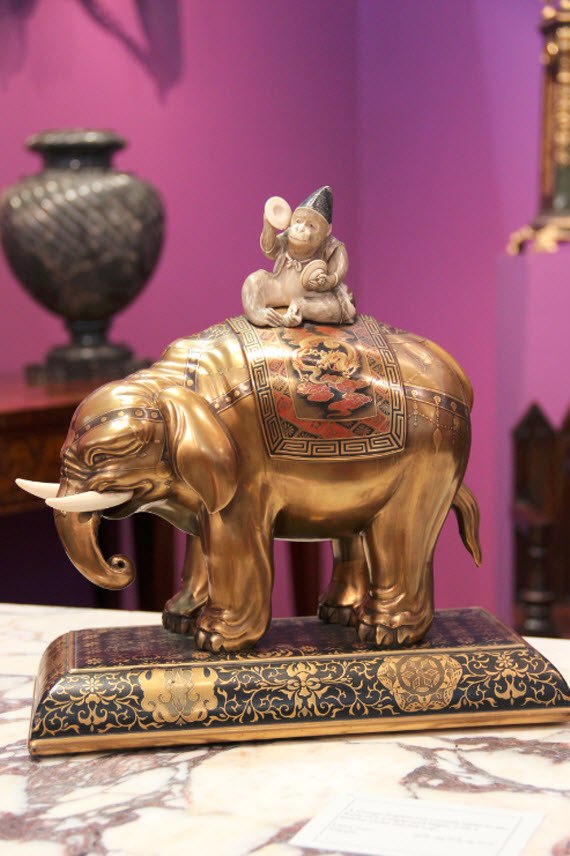 Bronze Elephant and Monkey