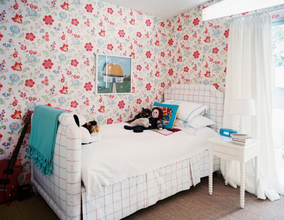Girls Bedroom with Floral Wallpaper