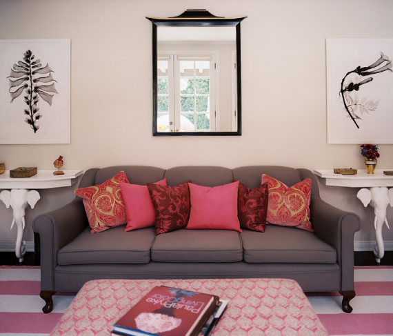 Lonny pink living room simplified bee for Living room ideas pink and grey