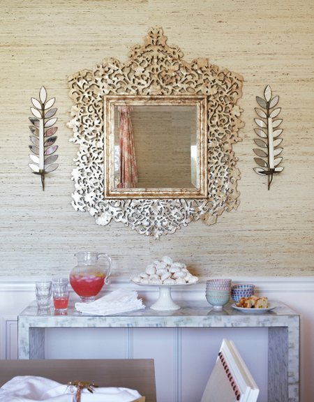 Arrowroot Wallcovering and ornate gilded mirror