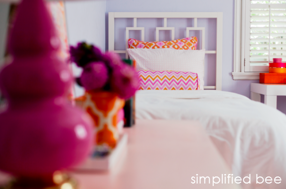 orange and pink girls bedroom design