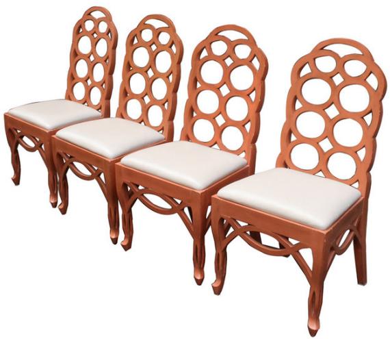 orange loop back chairs by Frances Elkins