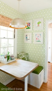 Simplified Bee Kitchen Nook with trellis wallpaper