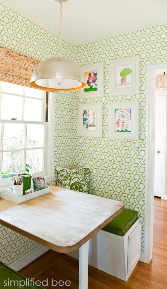Simplified Bee Kitchen Nook with trellis wallpaper