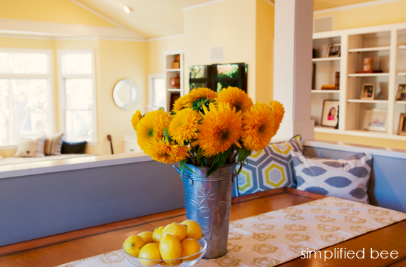 yellow and gray great room kitchen nook