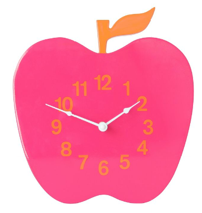 Pink and Orange Apple Clock by Jonathan Adler