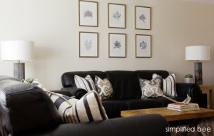 black and white living room by simplified bee