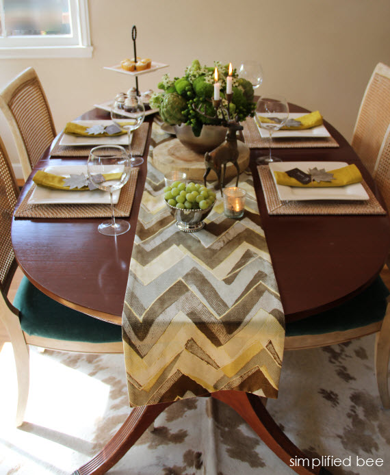 chartreuse, brown and silver thanksgiving table