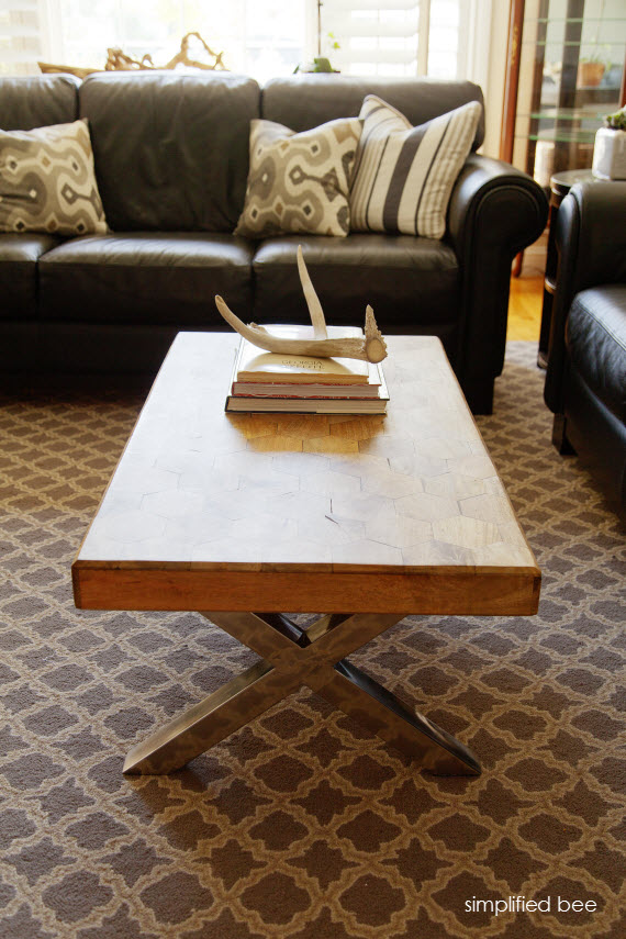 coffee table with X legs - simplified bee