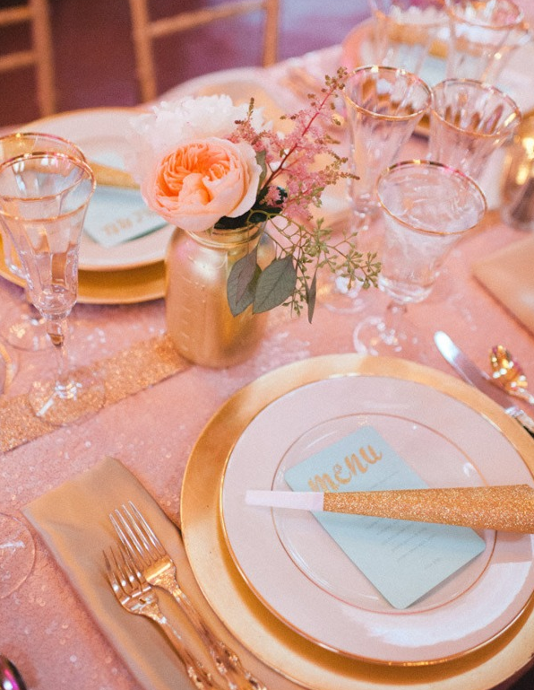 Gold Pink Holiday Table Setting Simplified Bee