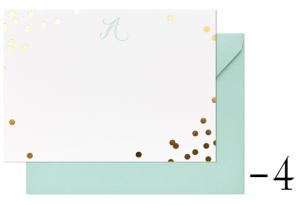gold confetti note cards