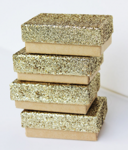 gold glitter gift boxes