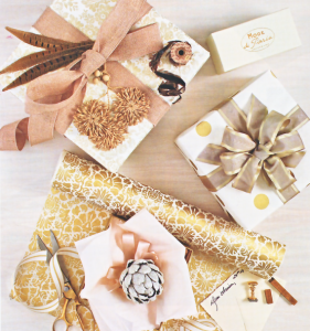 gorgeous gold gift wrap embellishments