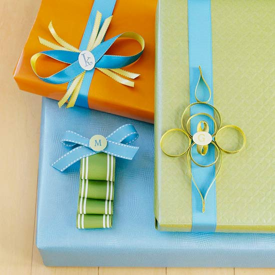green, blue and orange holiday gift wrap