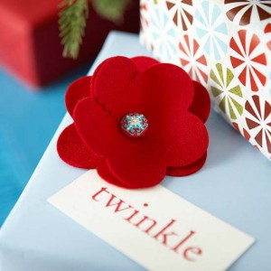 holiday gift with red felt flower