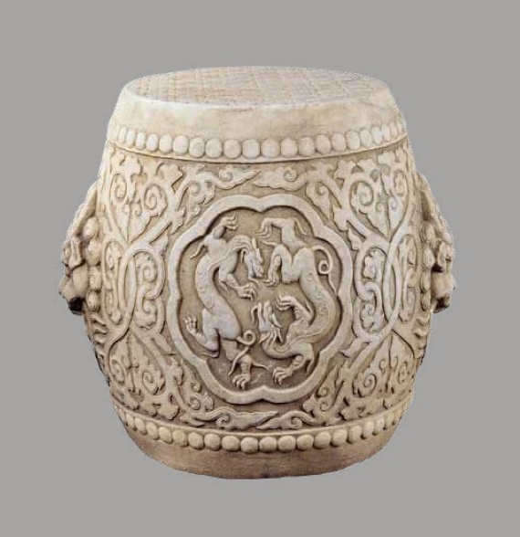 Chinese Drum Stools in White Marble