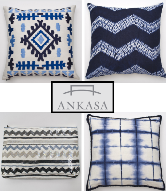 blue+black+white decor pillows by ankasa
