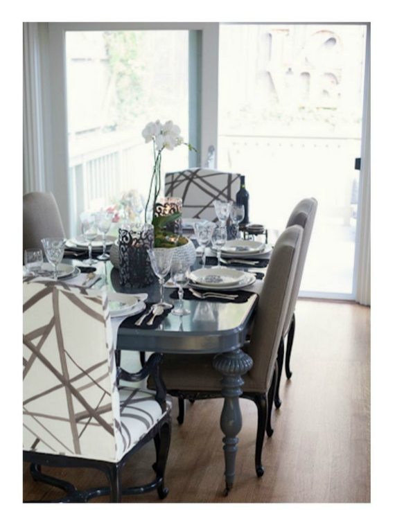 dining room with kelly wearstler chairs