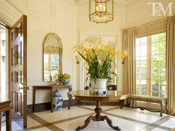 elegant foyer designed by Suzanne Tucker