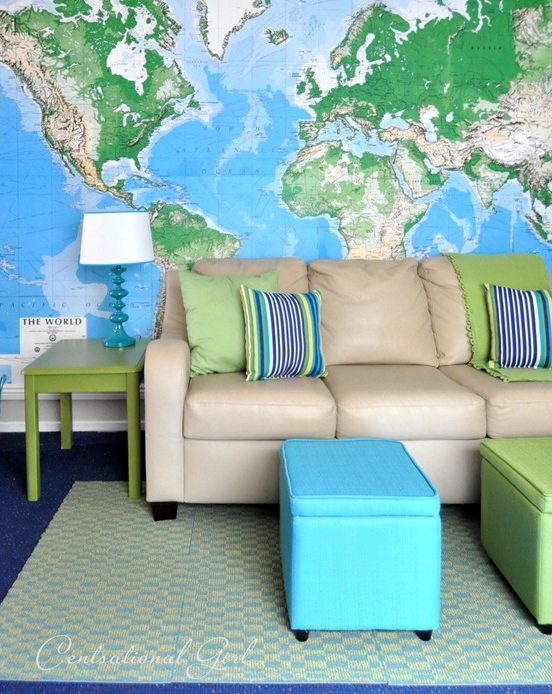kids playroom with world map wallpaper