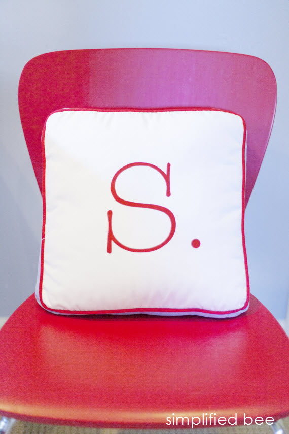 boy's bedroom red chair and letter pillow