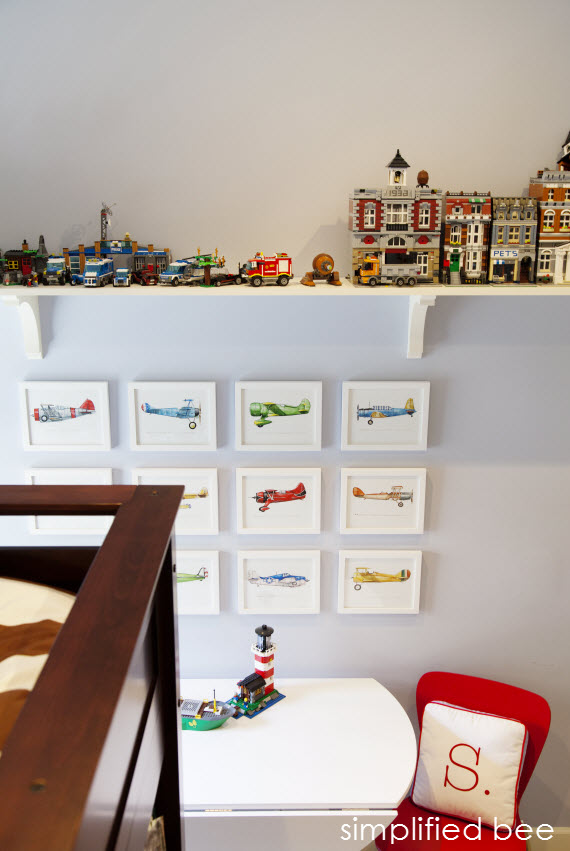 boy's bedroom with lego storage shelf