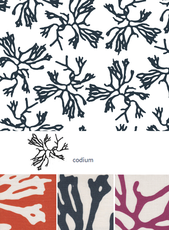 coral inspired designer fabric