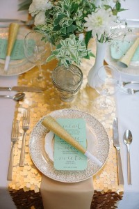 gold sequin table runner for New Years