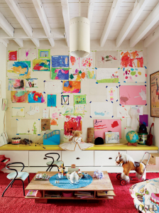 kids playroom with art wall
