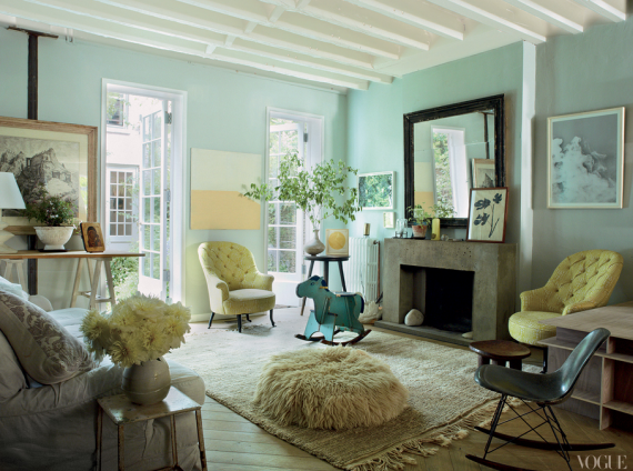living room with mint walls