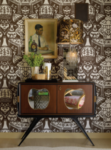chic entry with brown and white wallpaper
