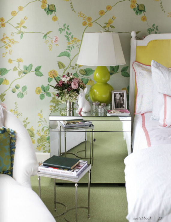 green and yellow floral wallpaper bedroom