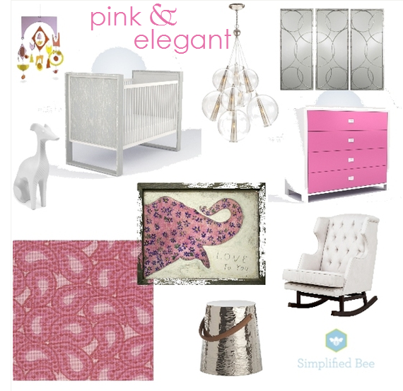 modern pink nursery design board