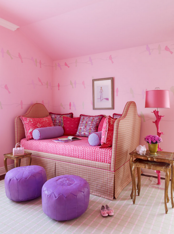 pink upholstered daybed girls bedroom