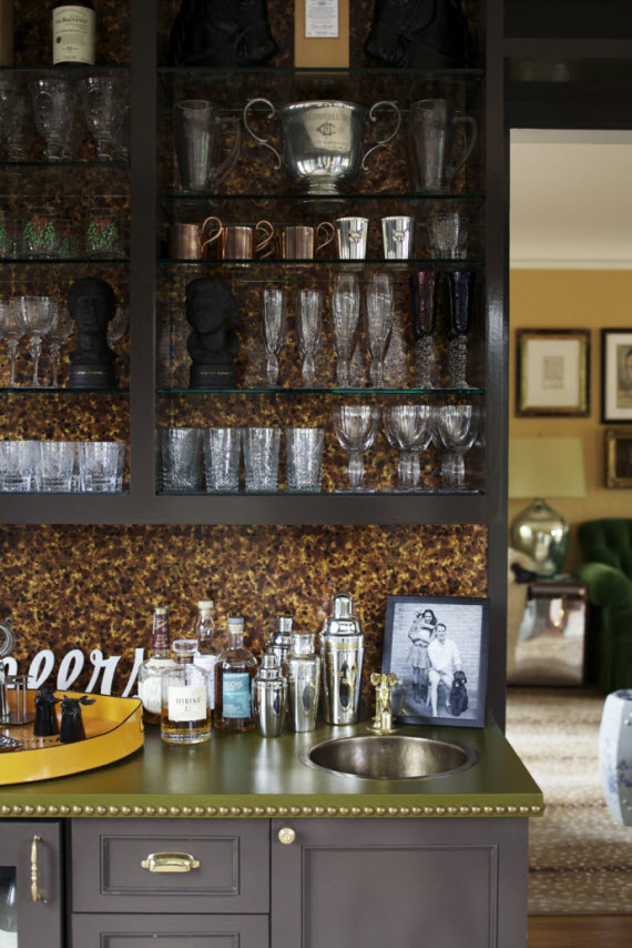retro bar with open shelving and wallpaper