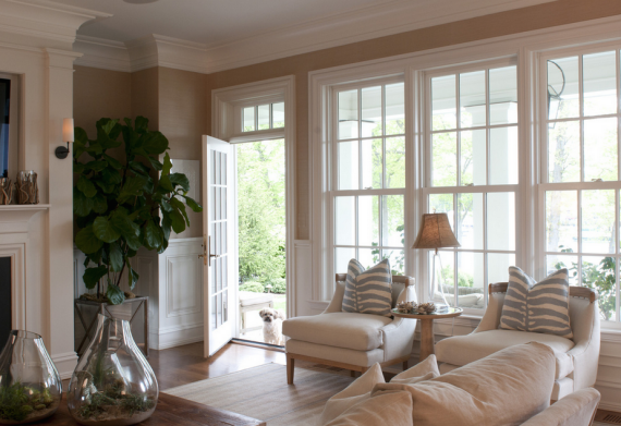traditional family room with beautiful windows