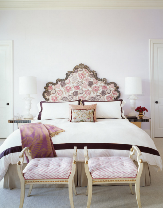 upholstered headboard with floral print