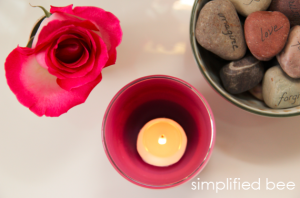vignette with pink votive candle