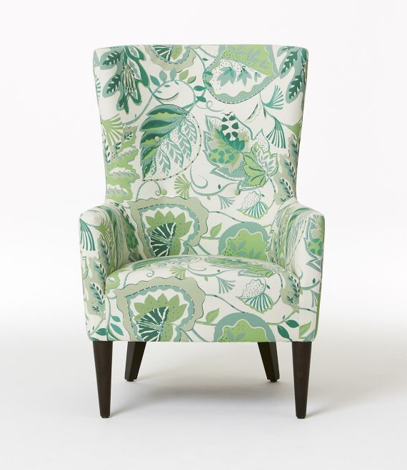 wing chair in palm leaf print by West Elm