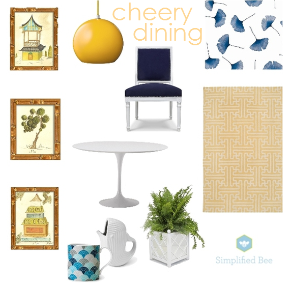 yellow and navy dining room design board