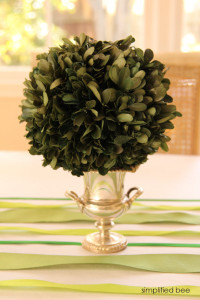 boxwood+urn table centerpiece