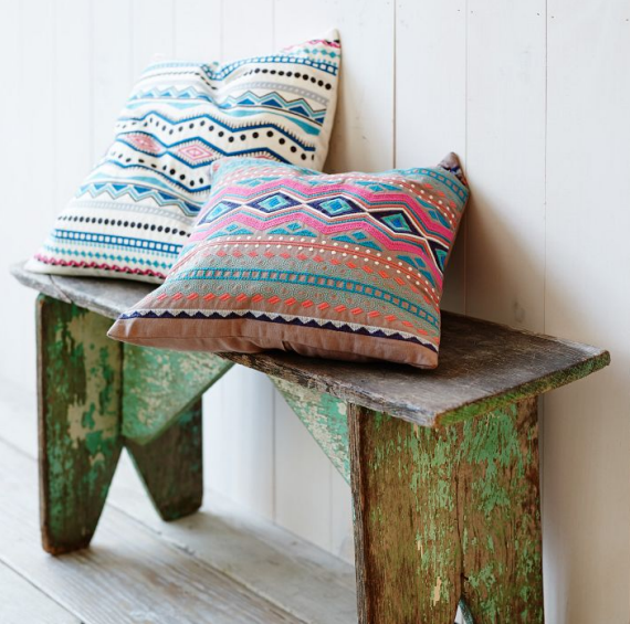 chic embroidered throw pillows