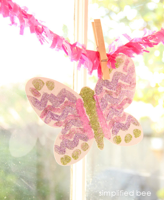 diy glittered butterfly garland