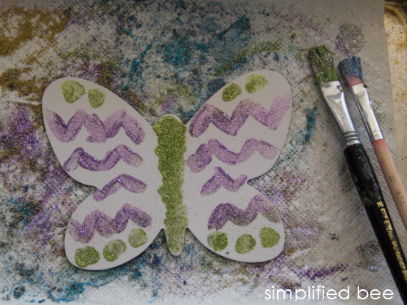glittered butterfly craft for kids