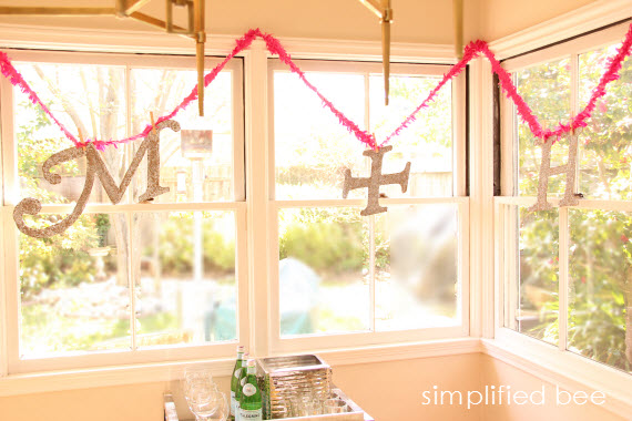 glittered initials and streamer garland