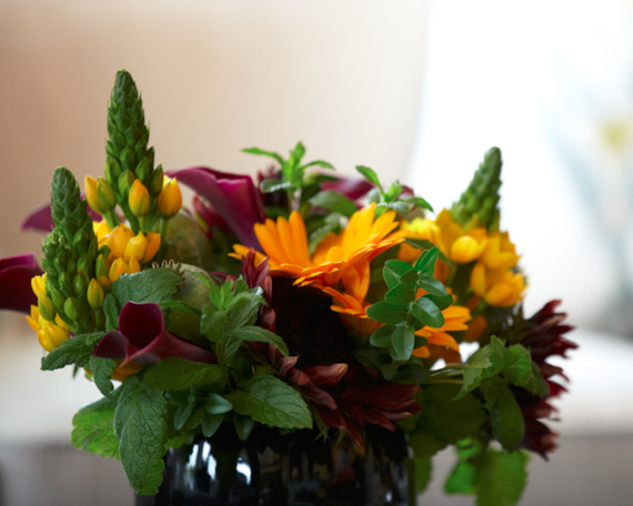 purple and orange flower arrangement