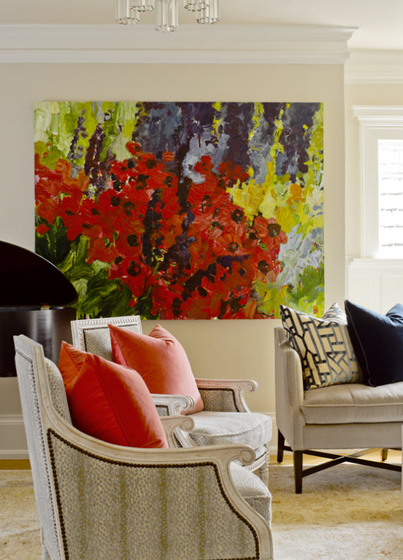 traditinal living room with large artwork