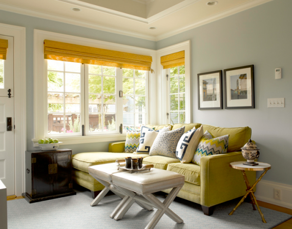 traditional family room in blue and yellow